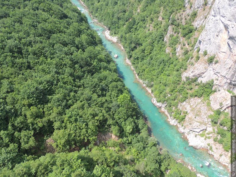 В лучах солнца река Тара играет насыщенным бирюзовым цветом