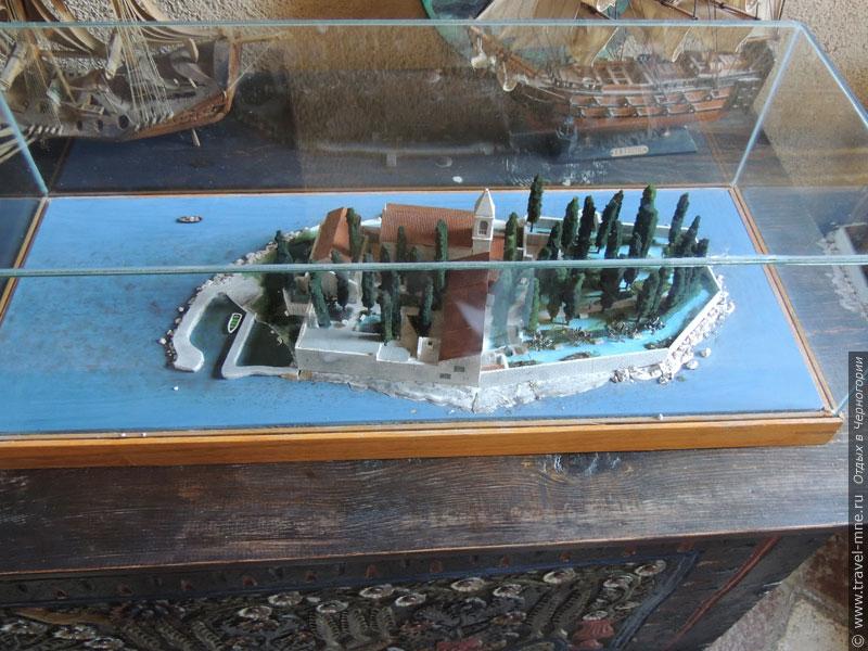 Макет острова Святого Георгия, хранящийся на соседнем острове Госпа од Шкрпела