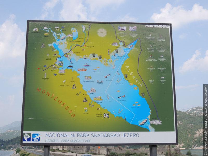 По берегам Скадарского озера находятся специальные карты-аншлаги для туристов