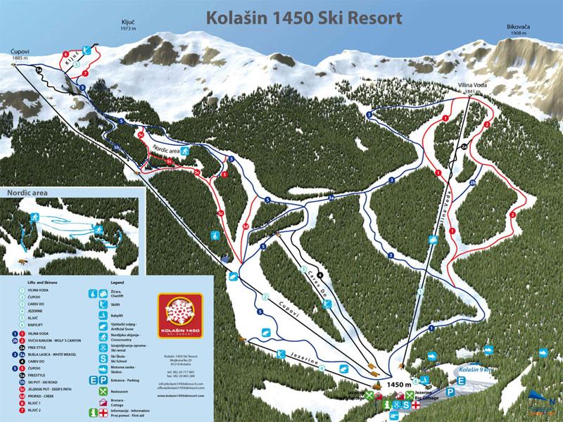 План-схема трасс горнолыжного центра Колашин
