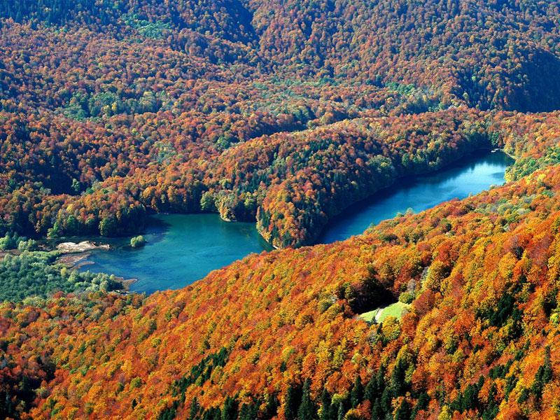 Биоградское озеро расположено посреди красивых лесов национального парка