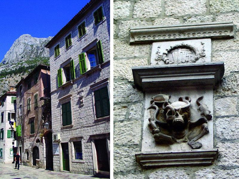 Главный атрибут дворца Грубоня - старинный аптечный которский герб на его фасаде